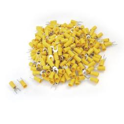 uxcell 12-10 AWG Yellow PVC Sleeve Insulating Fork Terminals