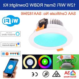 12W WiFi Smart RGBW LED Downlight for Home Automation, Alexa