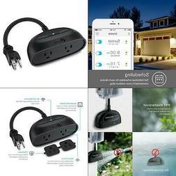 2-outlet smart outdoor plug, black | kasa wifi dual ??? hub