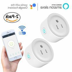 2 Pack Mini Wifi Smart Plug Power Socket Timer Outlet Remote