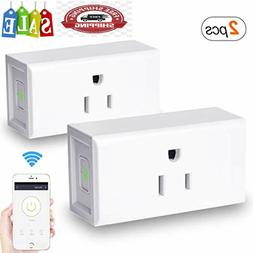 2 Pack WiFi Smart Plug Outlet Electrical Socket Remote Contr