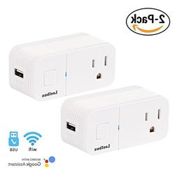 Leelbox Smart Plug 2 Pack Wifi Mini Smart Outlet Wireless Ti