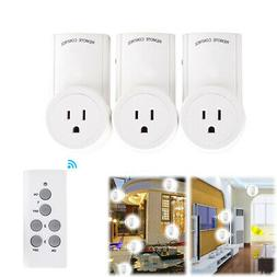3 in 1 Wireless Remote Control Power Socket US Home Plug Out