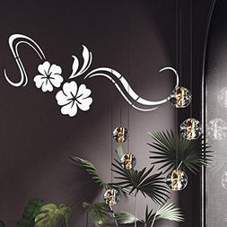 LiPing 3D Modern Vinyl Mirror Flowers DIY Room Decoration Wa
