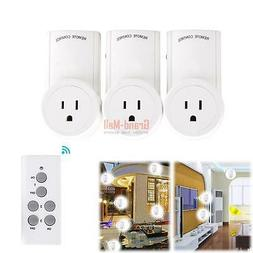 3x Socket Home Plug Wireless Remote Power Socket Outlet Ligh