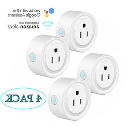 4-Pack Smart Wi-Fi Mini Outlet Plug Switch Works With Echo A