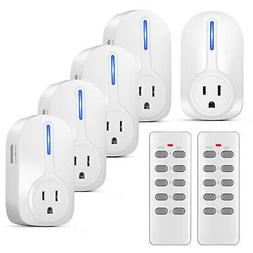 5 Pack Wireless Remote Control Power Outlet Plug Light Switc