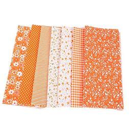 5Pcs/set Cotton Fabric Orange Floral Sewing Pre Cut Quilt DI