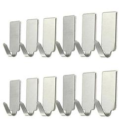 LiPing 6/12PCS Stainless Steel Utility Hooks Home Kitchen Du