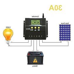 LiPing 30A/50A 12V/24V LCD Solar Panel Battery Regulator Cha