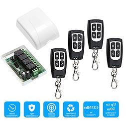 OWSOO 433Mhz DC 12V 4CH Wireless Remote Control Switch Recei
