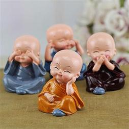 Resin Kungfu NO Speak Hear See Think Evil Buddha Monk Statue