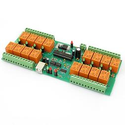 USB 16 Channel Relay Module,Board for Home Automation - 24V