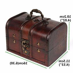 Vintage Jewelry Storage Box Wooden Organizer Case Metal Lock