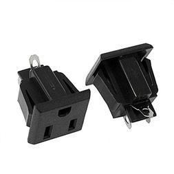 Willwin 10Pcs Black US 3 Pins Power Socket Plug Panel Screw