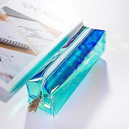 LtrottedJ Colorful Transparent Pencil Case Cosmetic Bag Make