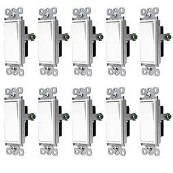 ENERLITES Decorator Rocker Light Switch, 15A 120V/277V, Sing