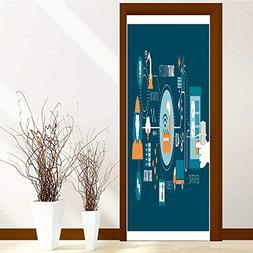 SCOCICI1588 Door Sticker Wall Murals Decals smart industry a
