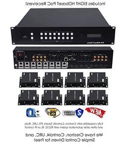 8x16 HDbaseT 4K Matrix SWITCHER 8x8 16x16 with 8 Receivers &