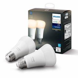 Philips Hue White 2-Pack A19 LED Smart Bulb, Bluetooth & Zig