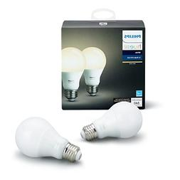 Philips Hue White A19 2-Pack 60W Equivalent Dimmable LED Sma
