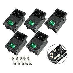 uxcell 5PCS Rocker Switch IEC 320 C14 Power Supply Connector