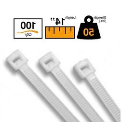 """BuyCableTies 14"""" Standard Indoor Cable Ties - 50 lb Rated -"""