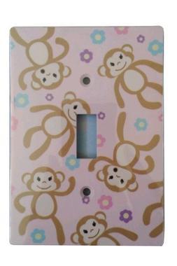 Jasco Designer Pink Monkey Floral Wall Plate Single Light Sw