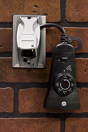 GE Dual Outlet Outdoor Countdown Timer Plug-In, Remote On / 2 / 4 6 Countdown Options, Design, Light Timer,