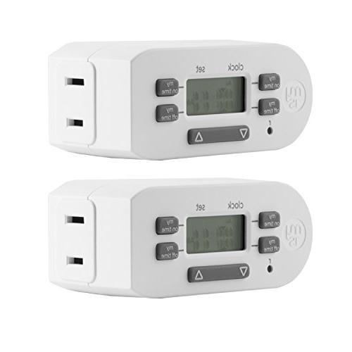 myTouchSmart 2-Pack Indoor Digital Plug-in Timer, 1 Outlet P