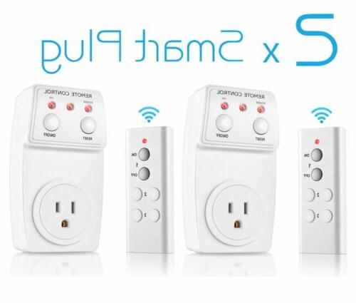 2x Wireless Remote Control Electrical Outlet ON/OFF Switch S