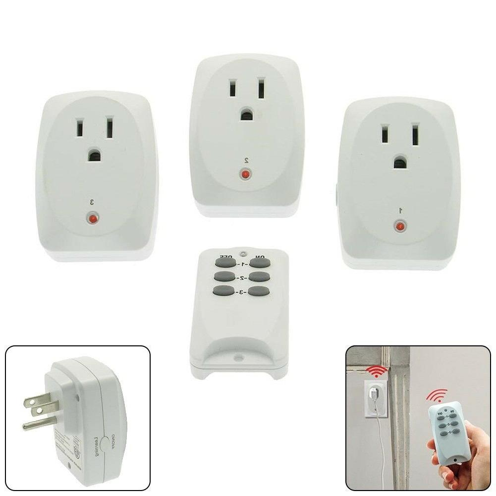 3x wireless remote control power socket outlet