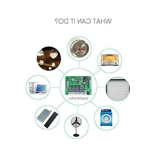Sonoff 4CH Pro Wi-Fi Rail Mounting Home Automation,Self-Locking/Interlock Control Appliances For DIY Alexa Assistant