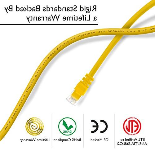 GearIT Pack, Cat 6 Cable Snagless Feet - Computer Network Cord, Yellow with