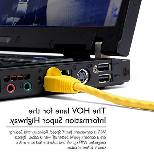 GearIT 10 6 Snagless Feet - Computer Cord, Yellow - with POE Gigabit