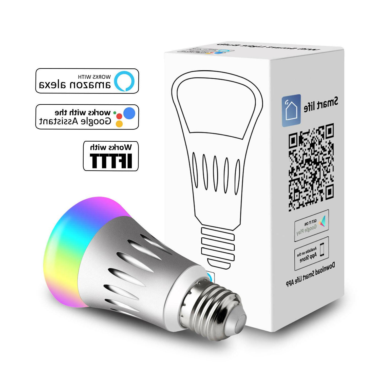 Dimmable E27 RGB LED Wifi Smart Light Bulbs Amazon Google