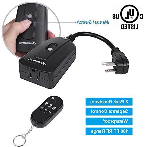 DEWENWILS Indoor Wireless Remote Control Waterproof Electrical Plug Remote Controlled 3 Pack 100 Feet UL Listed, Black