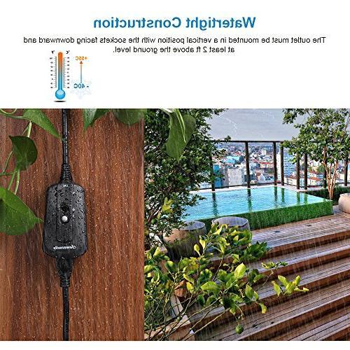 DEWENWILS Remote Waterproof Plug In Remote Switch, Controlled 100 Feet UL Black