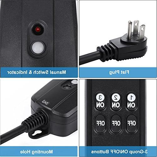 DEWENWILS Wireless Remote Waterproof Remote Light Switch, Controlled 3 100 UL