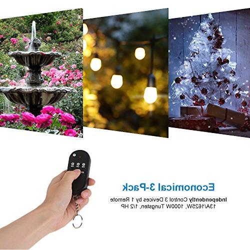 DEWENWILS Wireless Remote Waterproof Remote Light Controlled 100 RF UL Listed,
