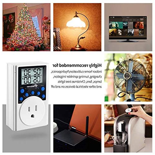 Light Timer Light Timer Outlet for Home,Daily Interval Countdown,15A/1800W