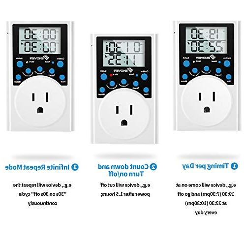 Light Digital Timer With Outlet for Interval Countdown,15A/1800W