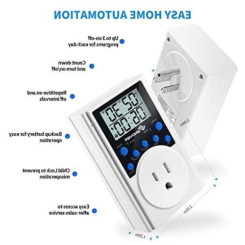 Light Timer Electrical Light Timer Digital With 3-prong Outlet Countdown,15A/1800W