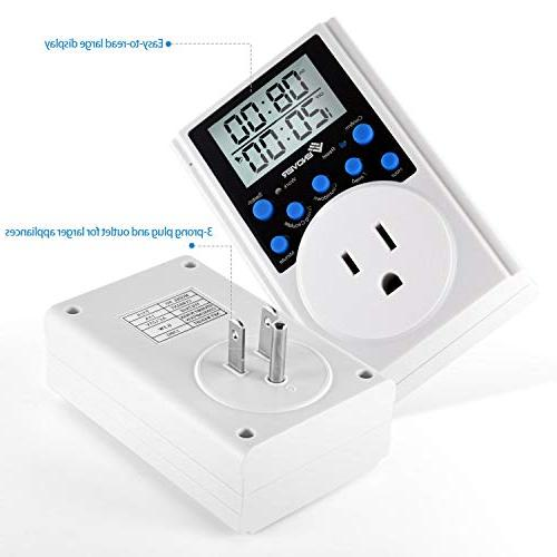 Light Light Digital Timer With 3-prong Outlet Countdown,15A/1800W
