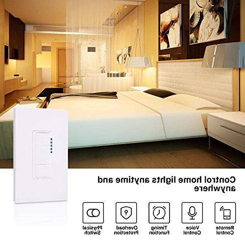 Ankuoo Smart Light Switch, with Alexa, NOT & Play, Limited Required, Neutral Wire Pole Only, White