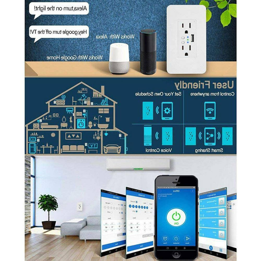 WiFi In-Wall Socket Remote Control Time Alexa Home