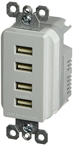 Legrand - Pass & Seymour Radiant TM8USB4WCC6 Quad USB Chargi