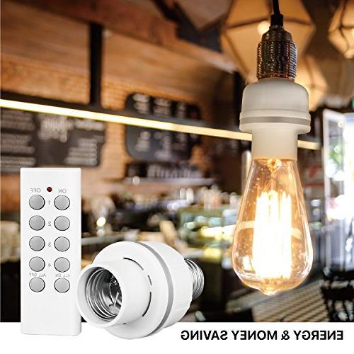 TNP Light Bulb Socket Lamp - Remote Lighting Plug Bulb Fixture E26 E27-3 Sockets & 1