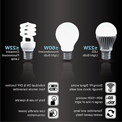 TNP Bulb Socket Switch - Remote Control Lighting Extender Plug Replacement E26 Sockets & 1