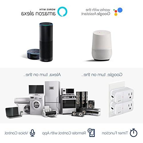 2 Smart Outlet With Compact Use Mini Plugs with Alexa Google Assistant Control Devices, Lights Appliances,